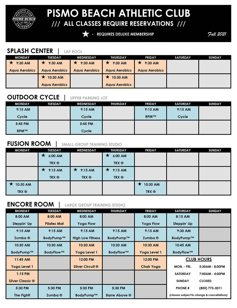 Pismo Beach Athletic Club Schedule